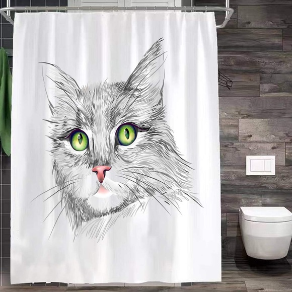 Posherpooch Other - NWT Green Eyes Cat Kitty Kitten Shower Curtain
